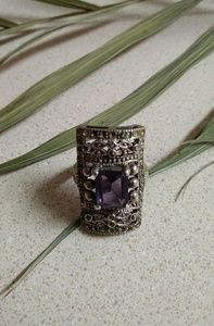 Sterling silver amathyst marquisite vintage ring